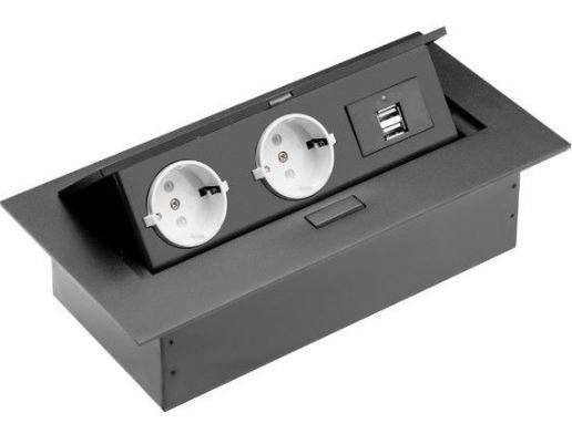 Irodai asztalba süllyeszthető elosztó 2db dugalj 2db USB fekete