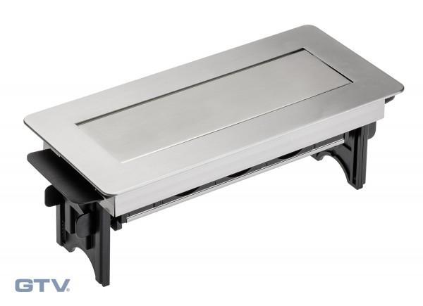 Irodai asztalba süllyeszthető elosztó 3db dugalj rozsdamentes acél