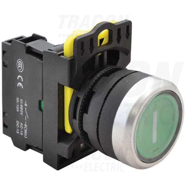 Jelölt világító nyomógomb, zöld IP65 (fehér I)