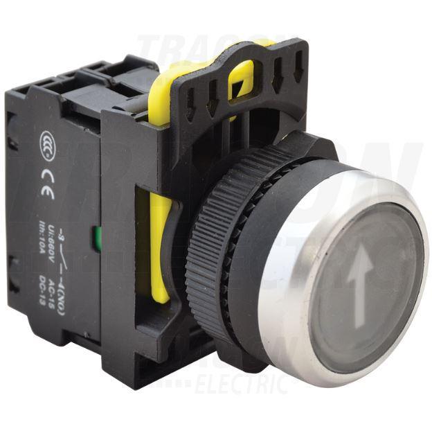 Jelölt világító nyomókapcsoló, fekete IP65 (fehér nyíl)