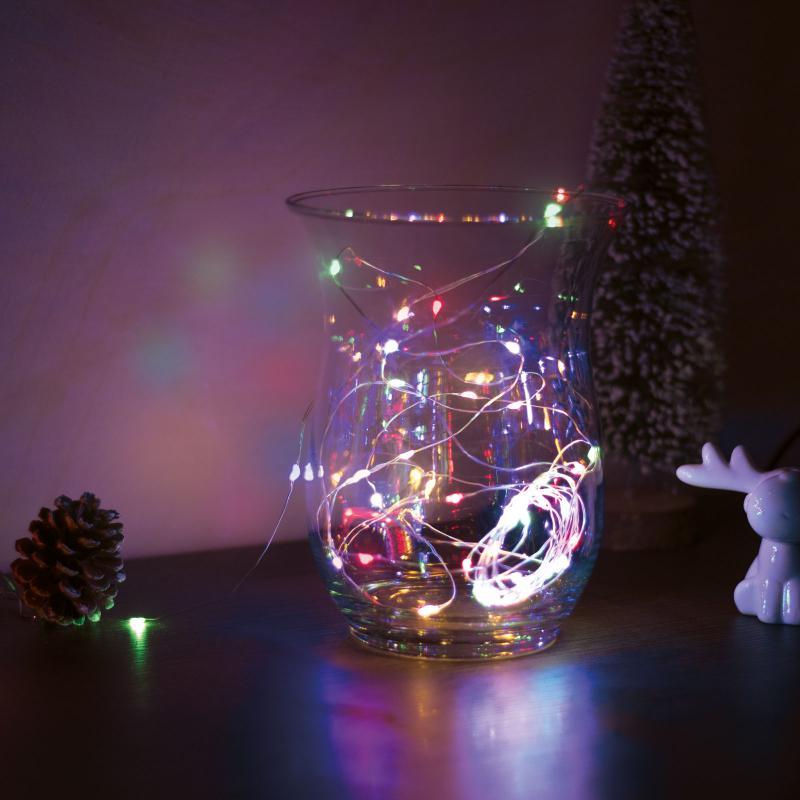 Karácsonyi LED fényfüzér - 5 m - 50 LED - multicolor - 3 x AA