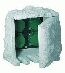 Kerti elosztó kőhatású 4db dugalj alkonykapcsolóval