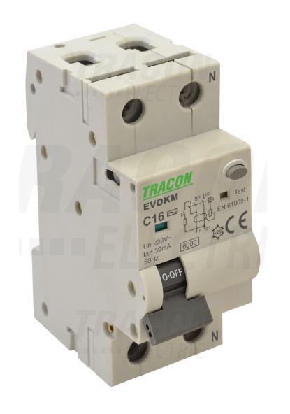 Kombinált védőkapcsoló elektromechanikus, 2P, 2 modul, C16