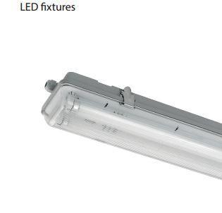 Led fénycsővel szerelt por és páramentes lámpatest 2x24W 6400K
