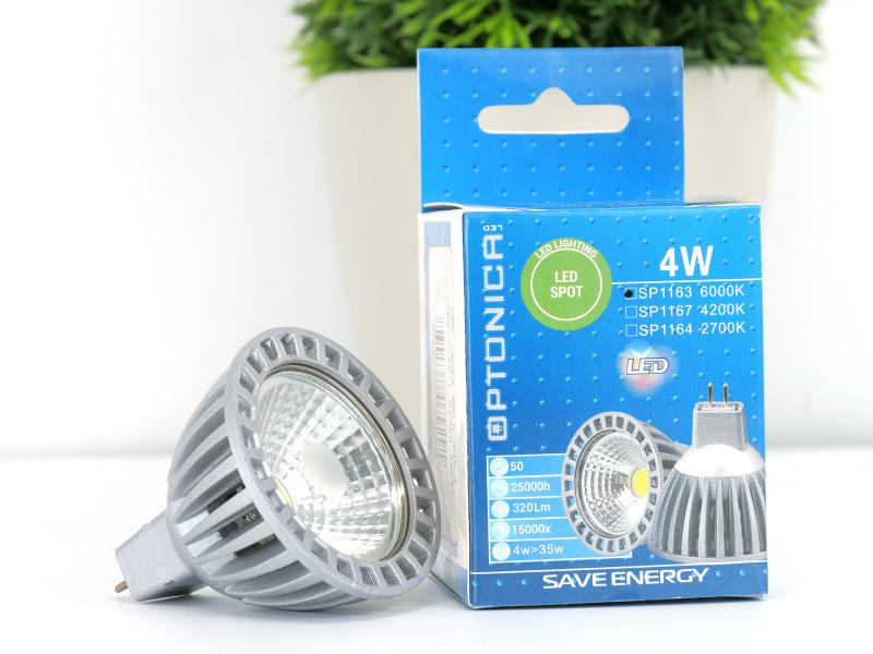 LED lámpa Gu5.3 MR16 COB 4W hideg fehér