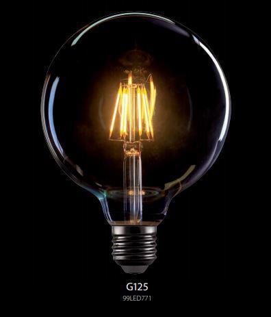 LED lámpa vintage G125 E27 dimmelhető (8Watt/360°) izzószálas, Retro, extra meleg fehér