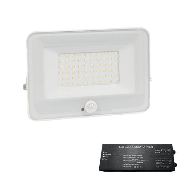 Led reflektor 50 W VEGA fehér 4000K+biztonsági világitás szenzorral
