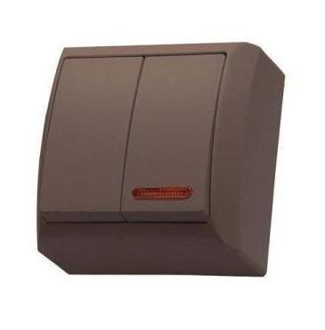 Mini falon kívüli csillárkapcsoló(105) jelzőfényes barna