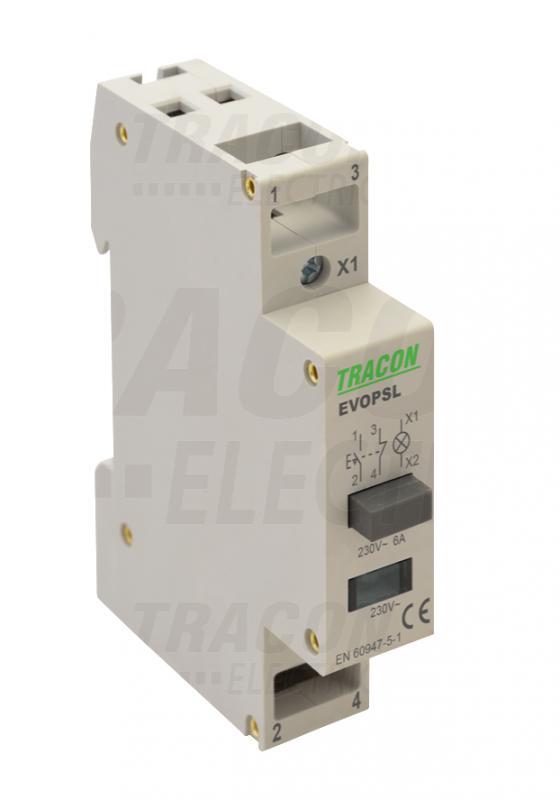 Moduláris nyomókapcsoló jelzőfényel sínre szerelhető 230V Fehér
