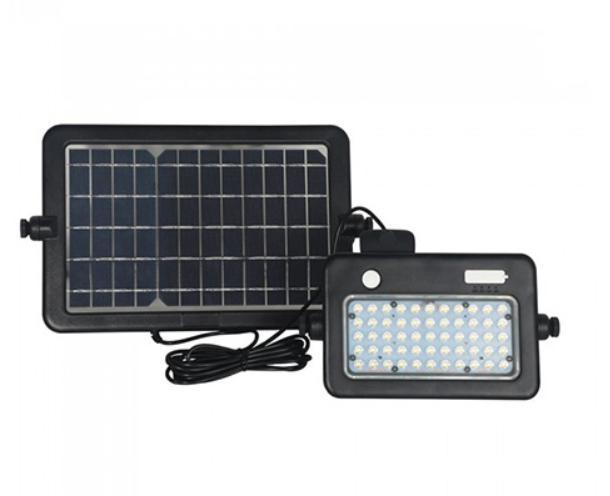 Napelem + akkus LED reflektor, hordozható, mozgásérzékelős - term fehér