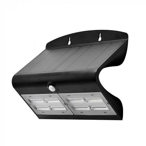Napelemes fekete oldalfali lámpa 7 Watt 4000+4000K