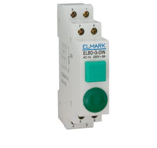 Nyomógomb lámpával sínre szerelhető Zöld 1NO 2NC