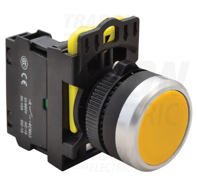 Nyomógomb sárga IP65