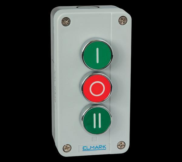 Nyomógomb tokozott IP44 zöld, piros, zöld