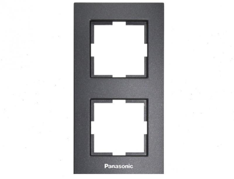 Panasonic Karre Plus 2-es sorolókeret függőleges fekete