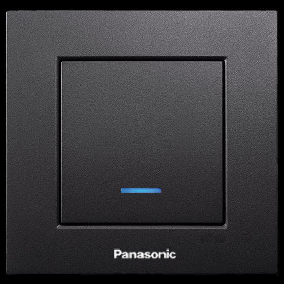 Panasonic Karre Plus egypólusú kapcsoló 101 jelzőfényes fekete (Keret nélkül)