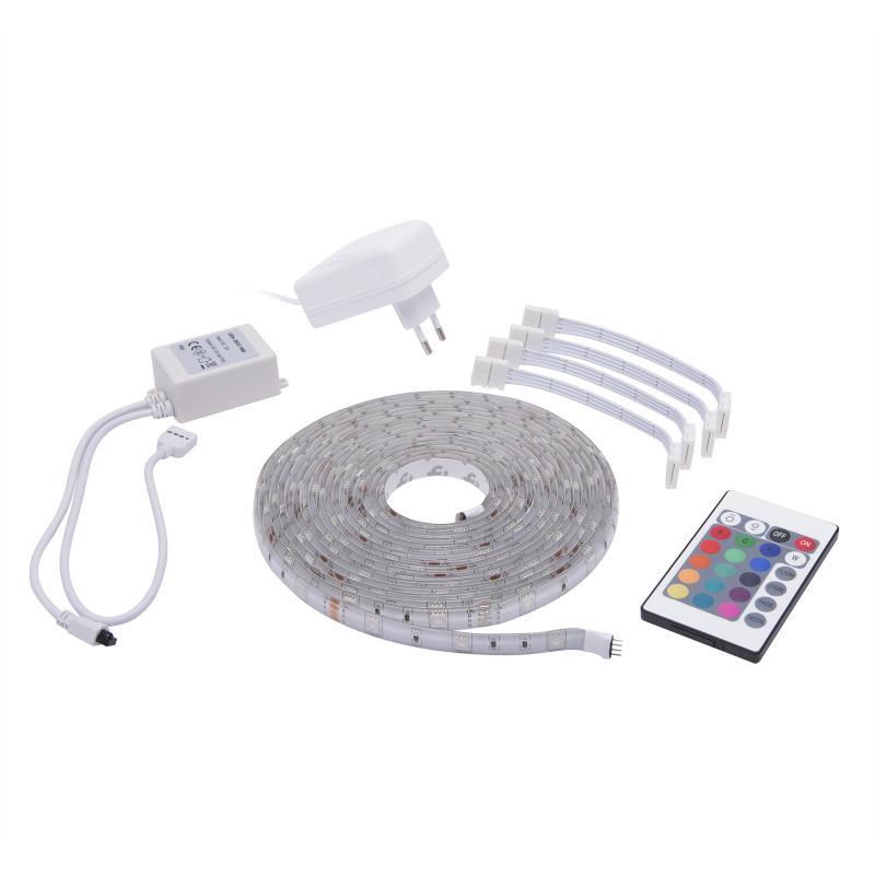 RGB Led szalag szett vezérlővel tápegységgel kültéri dekor IP65 30led/m