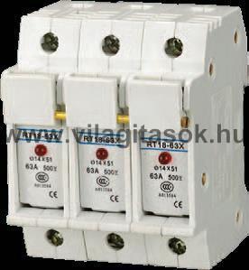 Szakaszoló kapcsoló napelem ág biztosító 3P 63A