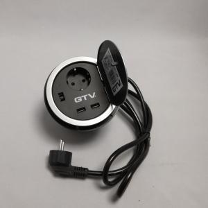 Irodai asztalba süllyeszthető elosztó 1db dugalj   2db USB 5V 2A