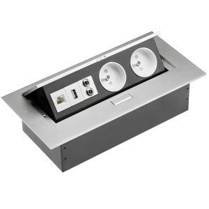 Irodai asztalba süllyeszthető elosztó 2db dugalj+1db USB+1db CAT5E