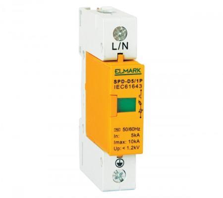 Túlfeszültség levezető 1 pólusú D 5 kA váltó áramú