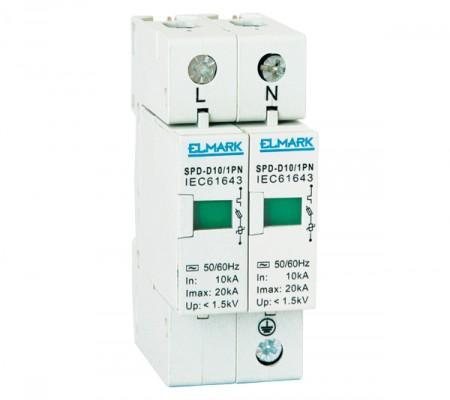 Túlfeszültség levezető 2 pólusú C 10 kA váltó áramú
