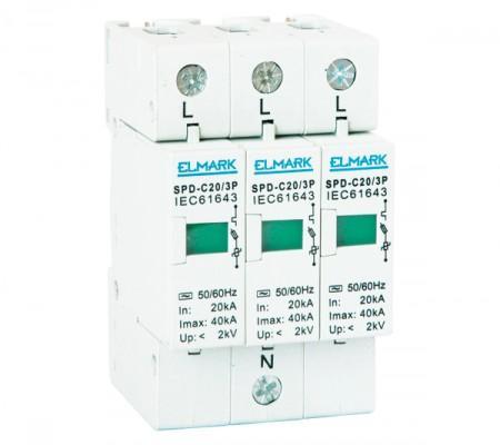 Túlfeszültség levezető 3 pólusú C 20 kA váltó áramú