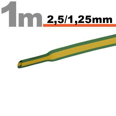 Zsugorcső 2,5mm/1,25mm zöld/sárga