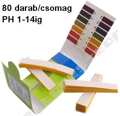 PH indikátor papír Univerziális 1-14ig 80db. (325)
