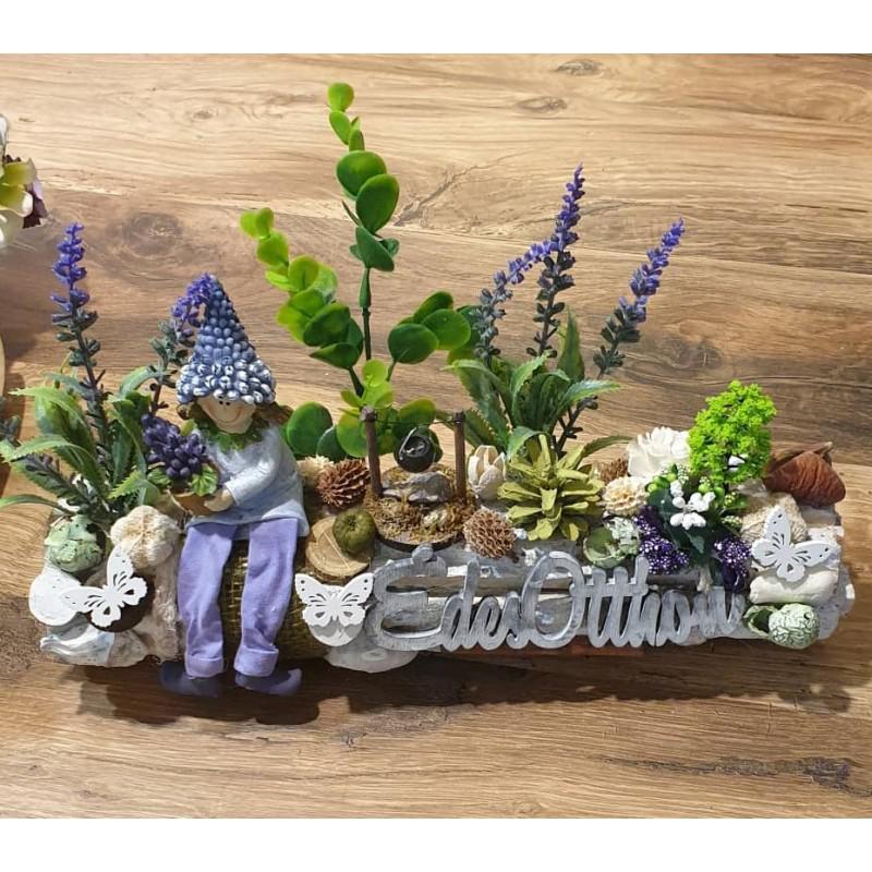 Asztaldísz fa kérgen tavaszi Édes Otthon