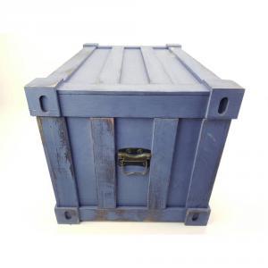 Fa láda konténer formával kék közepes