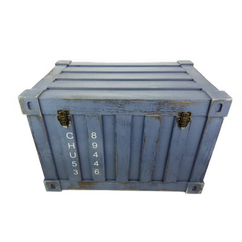 Fa láda konténer formával kék Nagy