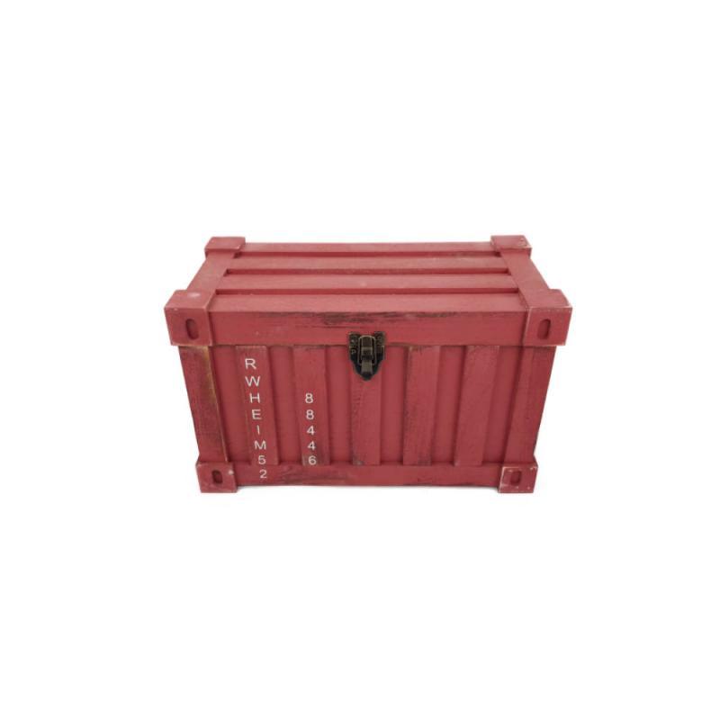 Fa láda konténer formával piros kicsi
