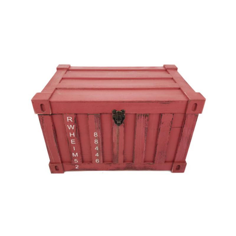 Fa láda konténer formával Piros közepes