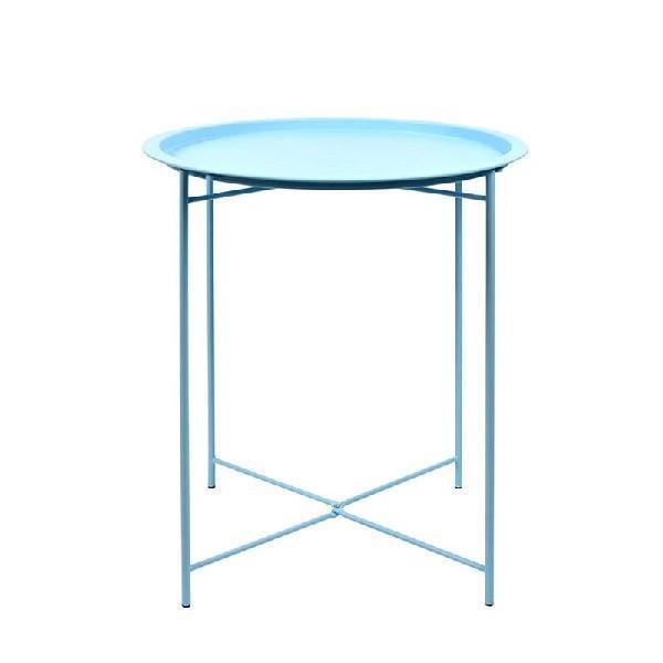 Fém kerti asztal kék kerek
