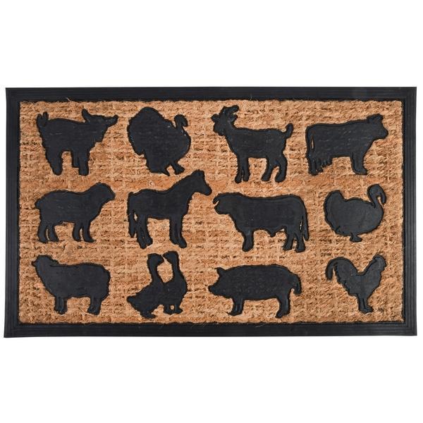 Gumi és kókuszrost lábtörlő farm állatos