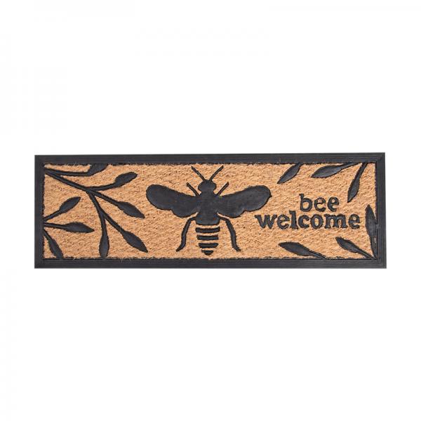 Kókuszrost és gumi lábtörlő méhecskés