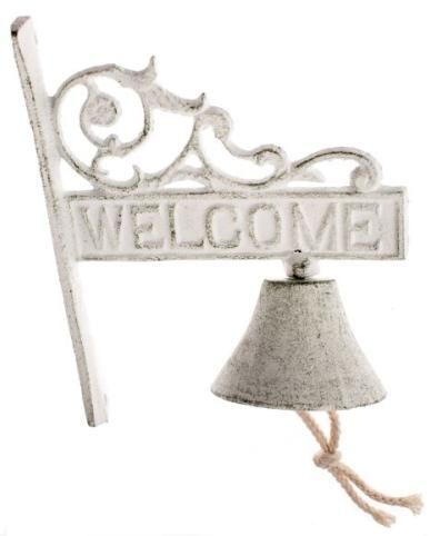Öntöttvas fali kolomp fehér Welcome