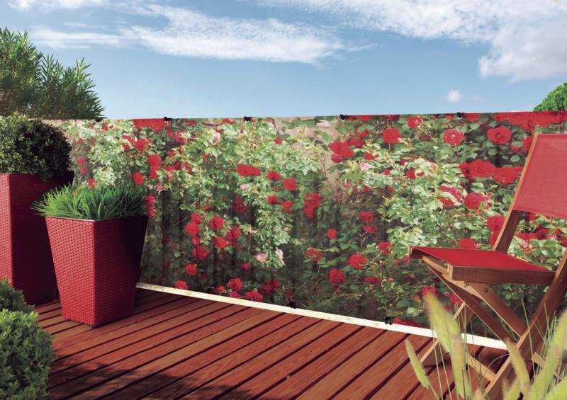 Szőtt árnyékoló háló rózsa mintás díszítéssel STYLIA