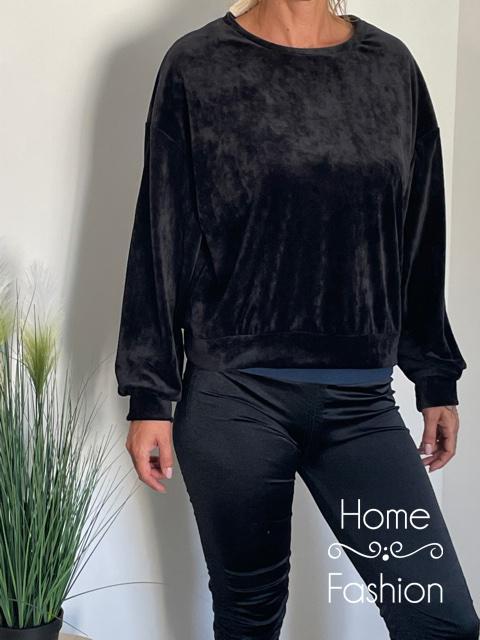 Pihe puha bársony pulóver Fekete