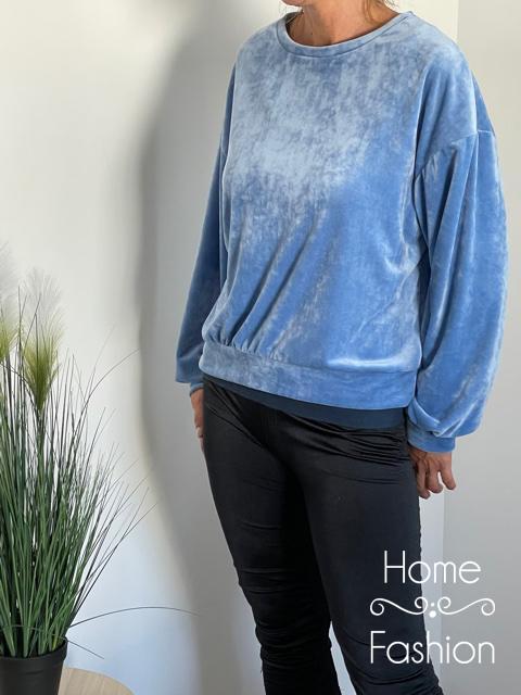 Pihe puha bársony pulóver Kék
