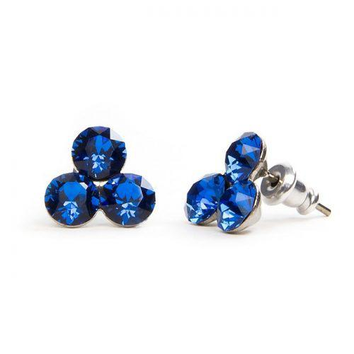 Swarovski kristályos 3 köves bedugós fülbevaló 10 mm - kék