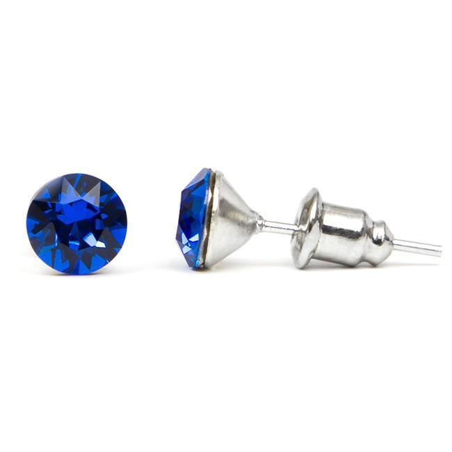 Swarovski kristályos pötty bedugós fülbevaló 6 mm - kék