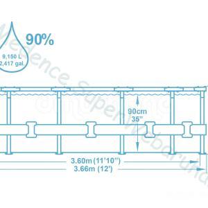 Fémvázas medence 366 x 100 cm készlet STEEL PRO MAX RATTAN