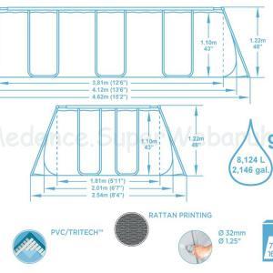 Fémvázas medence 412 x 201 x 122 cm készlet - RATTAN