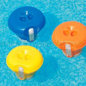 Úszó vegyszeradagoló beépített hőmérővel 18,5 cm