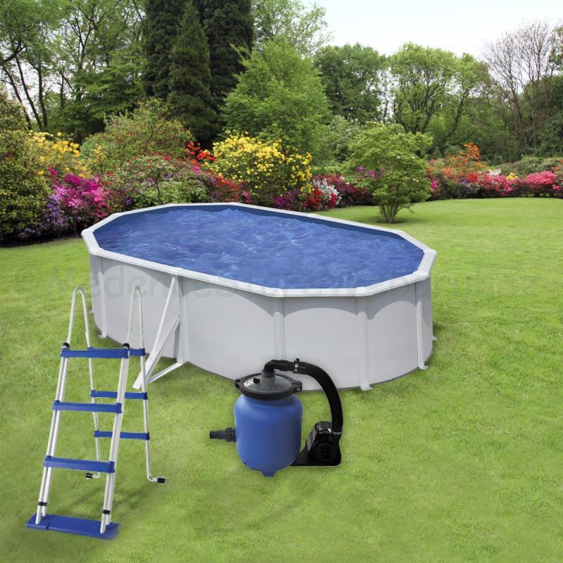 Fémfalas medence készlet homokszűrővel, 5,0 x 3,0 x 1,2 m ovális WET