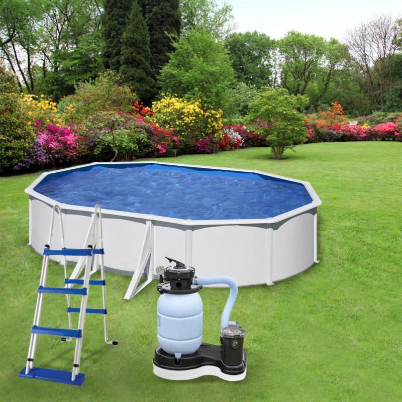 Fémfalas medence készlet homokszűrővel 6,1 x 3,75 x 1,2 m ovális WET