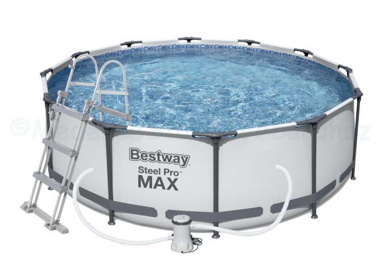 Fémvázas medence 366 x 100 cm készlet STEEL PRO MAX