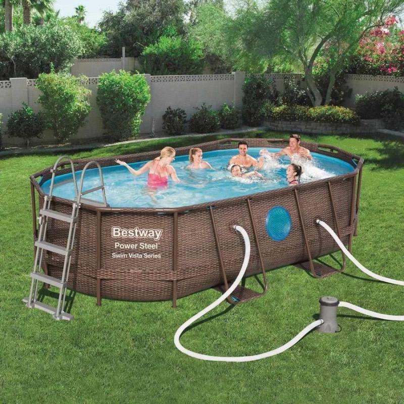 Fémvázas ovális medence 427 x 250 x 100 cm készlet- RATTAN Swim Vista